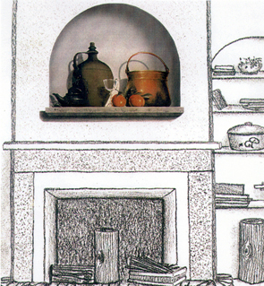 WATER-COLOUR fireplace