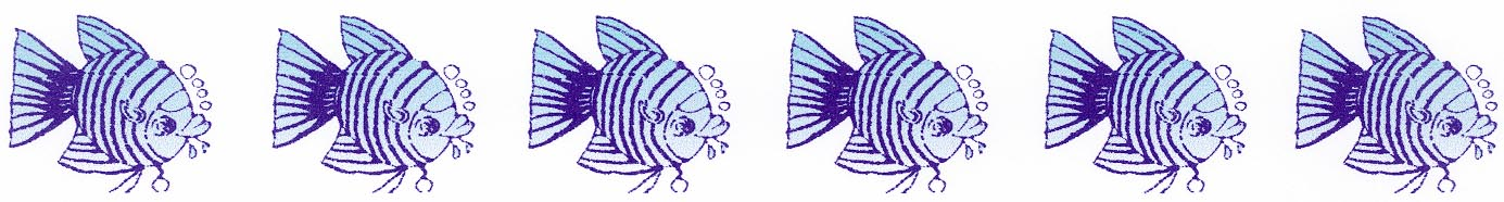 WATER-COLOUR border blue fishes