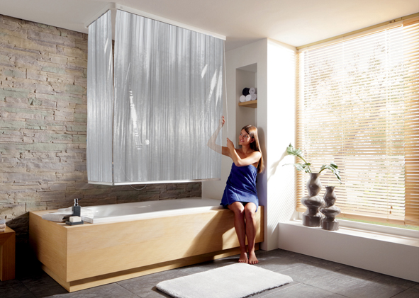 108 Milky Corner shower roller curtain + Rail