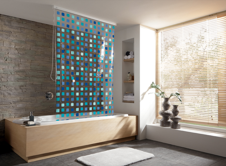 721 Blue shower roller curtain + rail