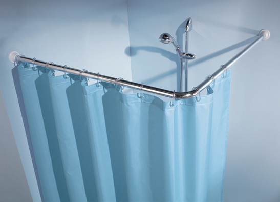 Angular shower curtain rod